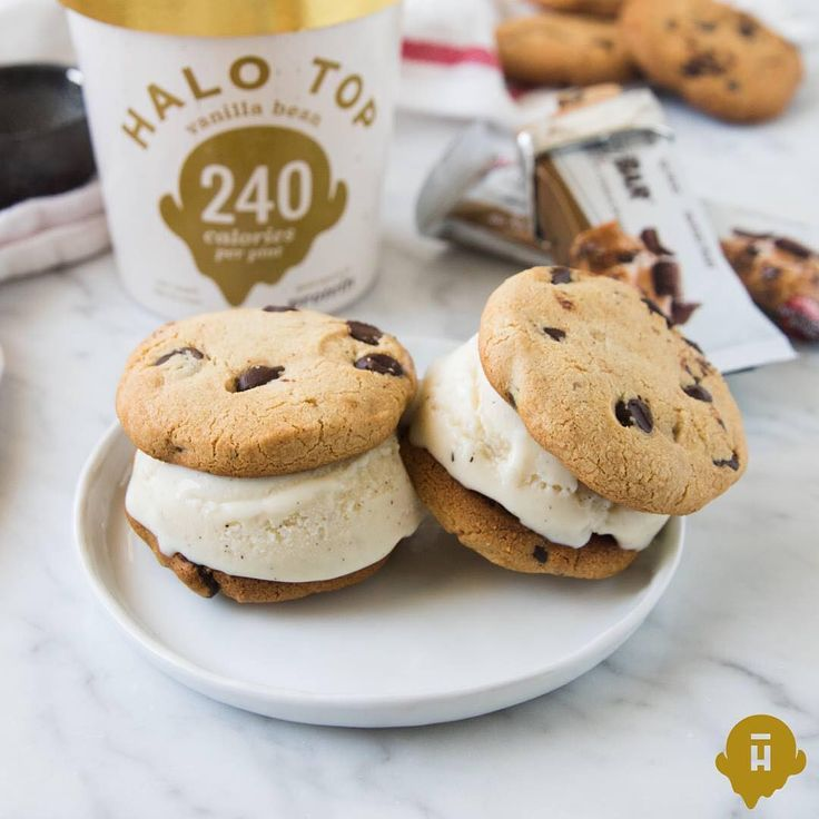 To make this protein-packed ice cream sandwich at home: 1) Chop 1 chocolate chip cookie dough Quest bar into 6 pieces, then flatten into a cookie shape. 2) Bake in a 350-degree oven until browned, about 7 minutes. 3) Add one scoop of Halo Top vanilla bean ice cream in between two cookies.