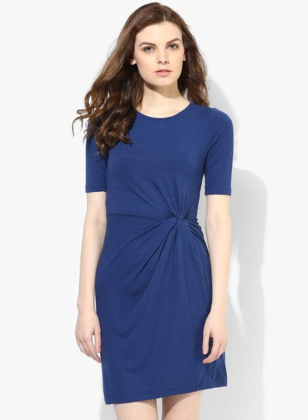 Blue Solid Soft Touch Knot Dress