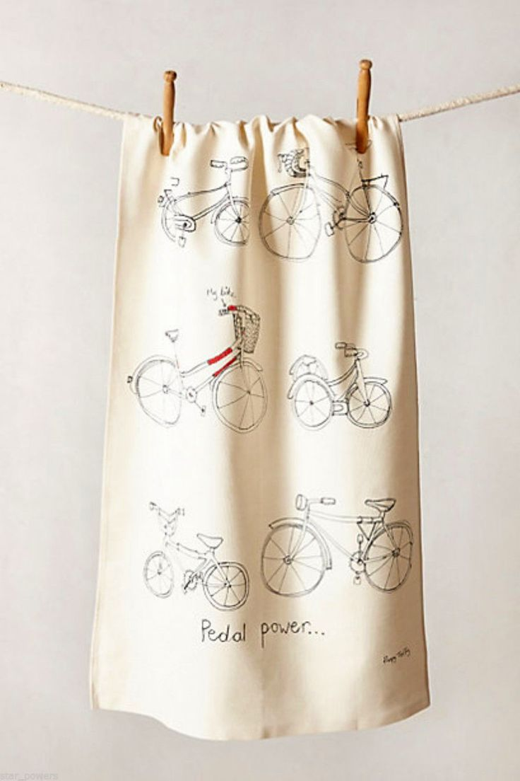 Whimsical Sketches Anthropologie Pedal Power Dish Towel with Bicycles. Great kitchen gift idea for a biker!