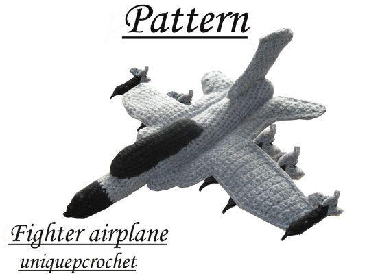 Amigurumi Pattern Crochet PDF Fighter Airplane by UniquePcrochet
