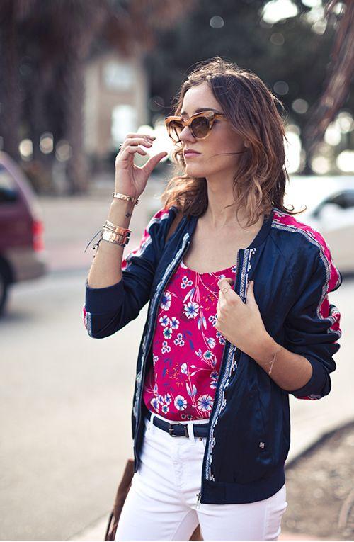 I.CODE look femme veste teddy satn bleu et top fleurie rose fuchsia Printemps/Eté 2017 #womenstyle #ss17