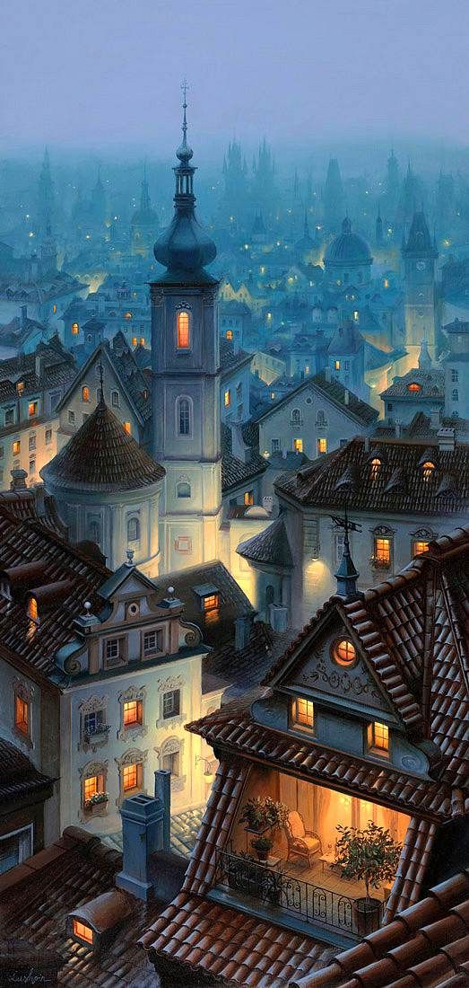 Е.Лушпин - Прага--not sure what that means, but I like this dreamy depiction of a city in slumber.