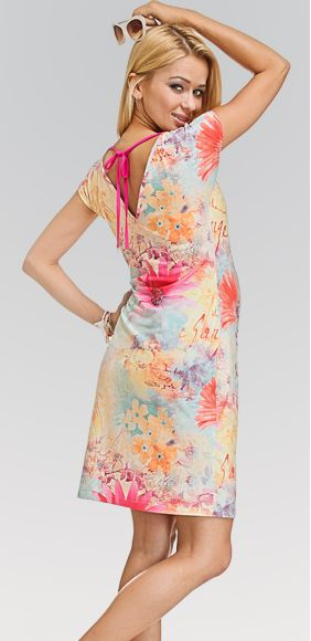 Sunshine este acea rochie de maternitate usoara, girlish, intr-o combinatie exploziva de roz, turcoaz si galben. #maternity #dress #chic #mamaboutique #babybump