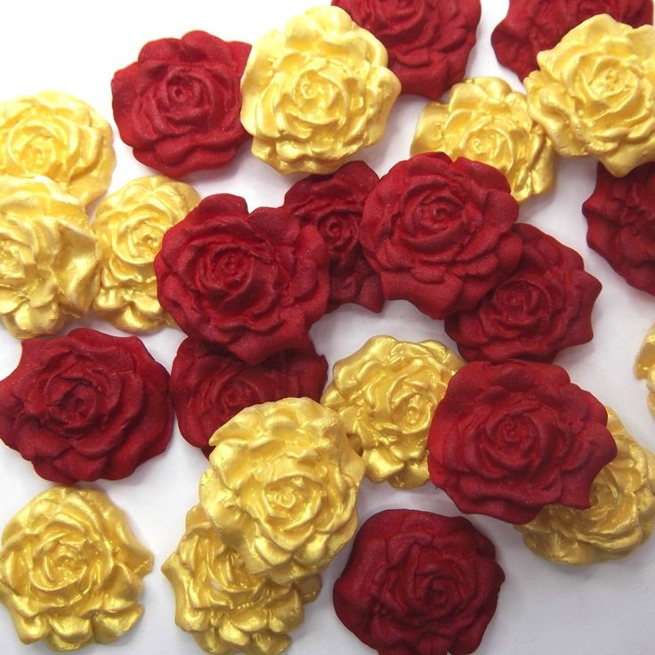 12 Red & Gold Pearl Sugar Roses edible ruby wedding xmas cake decoration 2 SIZES