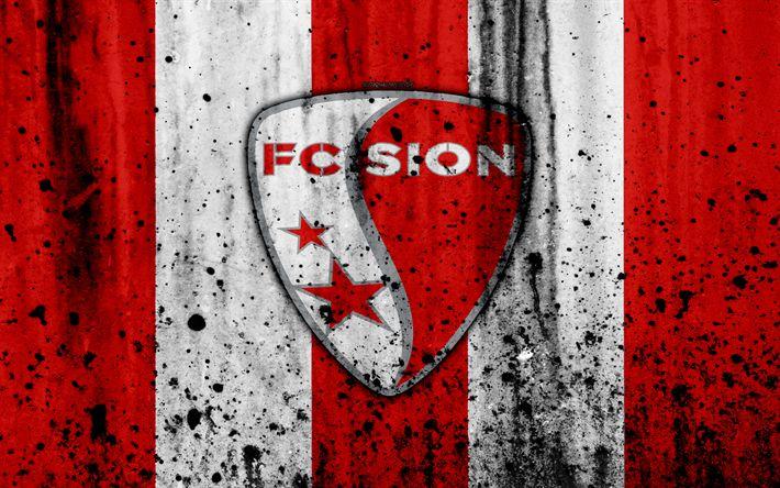 Download wallpapers FC Sion, 4K, logo, stone texture, grunge, Switzerland Super League, football, Sion emblem, Zurich, Switzerland