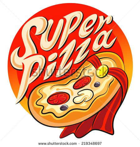 Superhero pizza label. Vector illustration isolated on a white background - stock vector