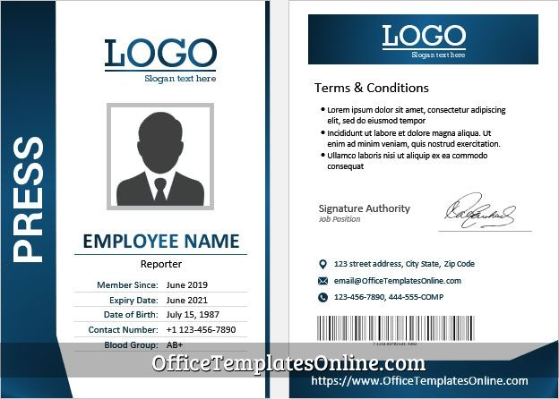 Press Reporter Id Card Template For Ms Word In 2021 Badge Template Id Card Template Words