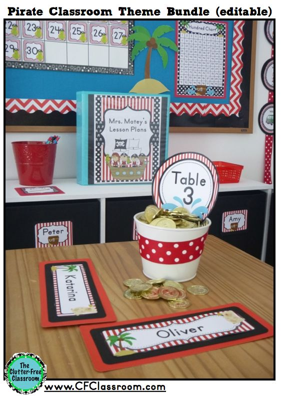 Clutter-Free Classroom: PIRATE Themed Classroom Photos, Printables & Ideas for Decorating