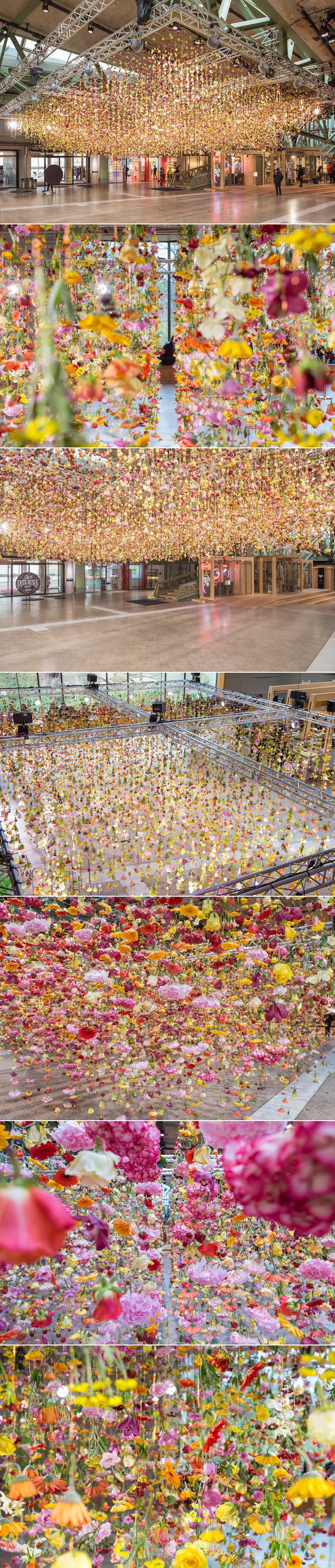 Rebecca Louise Law has created a fantastical canopy of color with over 30,000 suspended flowers.