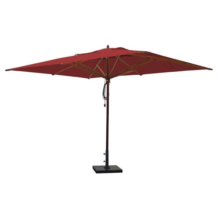 Greencorner 10 x 13 ft. African Mahogany Rectangular Patio Umbrella Jockey Red - RC1013QS2210