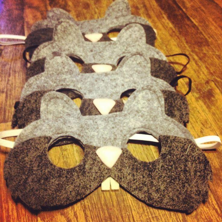 Felt squirrel masks I made for Penelope's woodland animal Birthday party