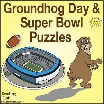 25% Off - GROUNDHOG DAY & FOOTBALL (Super Bowl) Puzzle Bundle - Groundhog Adventures 2-page set; Groundhog's Weather & Super Bowl word search; Football Facts & Fun 2-page activity set; Football Fever word search; Football Team Challenge word search; readi