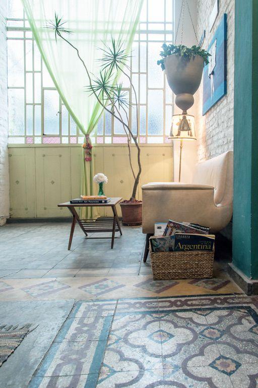 Original Tile Floors of The Terrace. San Telmo Loft in Buenos Aires.