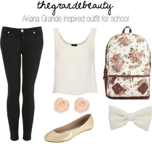 Ariana Grande inspired outfit for school by arianaskitten featuring tahitian pearl jewelryTopshop / Miss Selfridge skinny fit jeans / Ballet shoes / Floral backpack / Miso tahitian pearl jewelry, $1.57