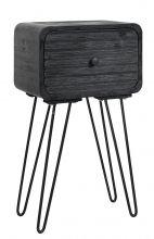 Wooden sidetable w. iron legs, black | Nordal.eu