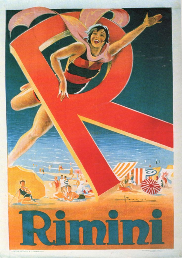 "Rimini, Italy 1929 vintage travel poster  beach  ""Give Me an ""R""...."""