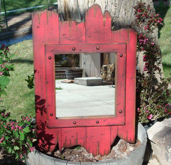 Rustic wood barnwood mirror. Wood framed mirror, Antiqued distressed mirror, Decorative wall decor mirror, Bathroom vanity mirror. via Etsy