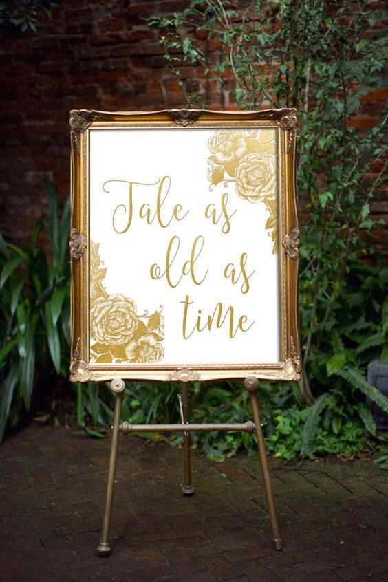 Beauty And The Beast Print - Tale As Old As Time | Beauty And The Beast Wedding Decor | Disney Wedding Decor | Fairytale Wedding | Gold Sign by oandhdesign on Etsy https://www.etsy.com/listing/496267742/beauty-and-the-beast-print-tale-as-old