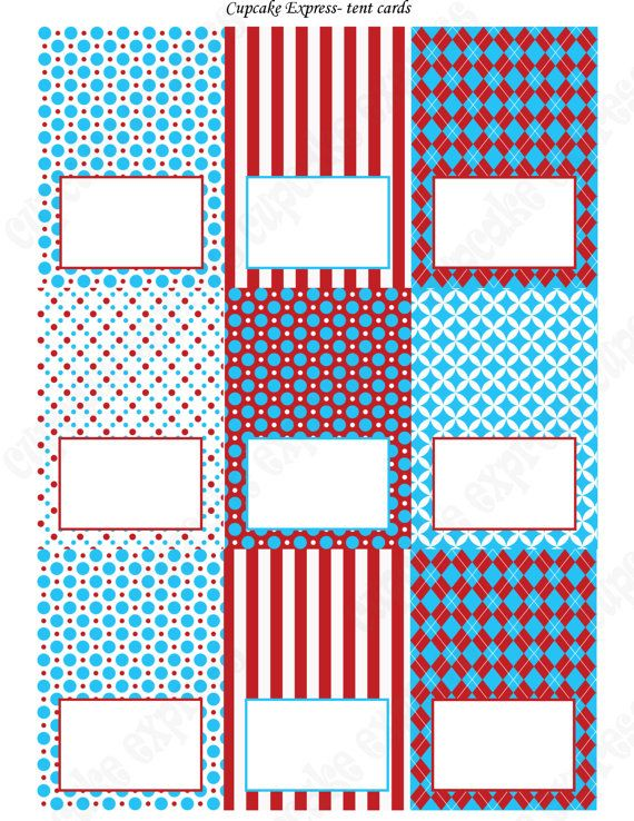 INSTANT DOWNLOAD diy Dr. Seuss Inspired  Birthday Party  PRINTABLE Food Labels Tent Cards Red Blue white  polka dots stripes