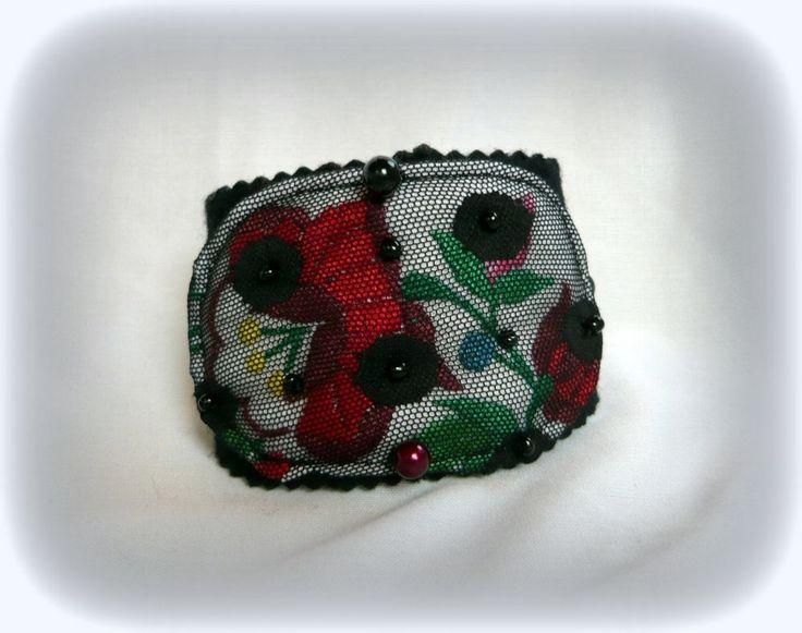 Handmade by Judy Majoros - Kalocsai Embroidery - Hungarian polka dots bracelet. Recycled bracelet. Polka dots tulle-black felt, beaded.