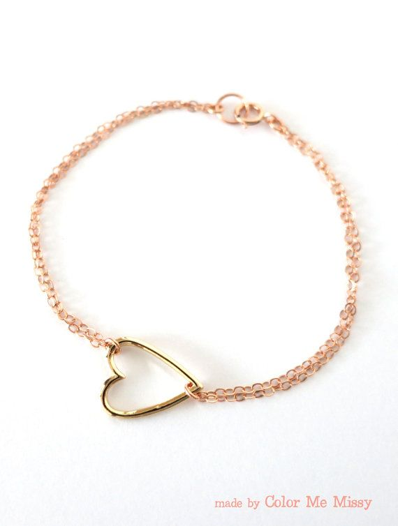 Golden Heart on Rose Gold Chain bracelet simple by ColorMeMissy, www.colormemissy.com