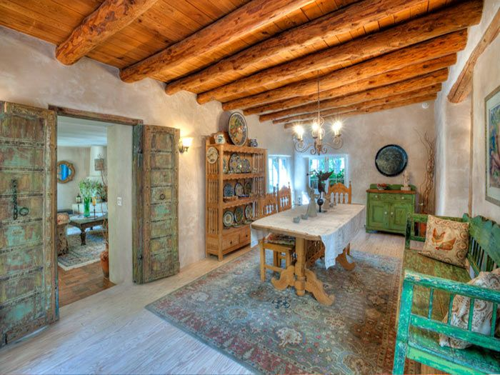 1930s Historic Santa Fe Adobe ... Living Room To Love With Vigas, Wood