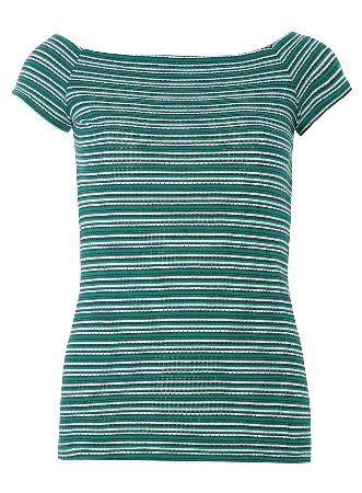 Dorothy Perkins Womens Green stripe bardot top- Green DP56502311 Shortsleeve jersey textured stripe barsot top. Length approx 52cm. 100% Cotton. Machine washable. http://www.MightGet.com/january-2017-13/dorothy-perkins-womens-green-stripe-bardot-top-green-dp56502311.asp
