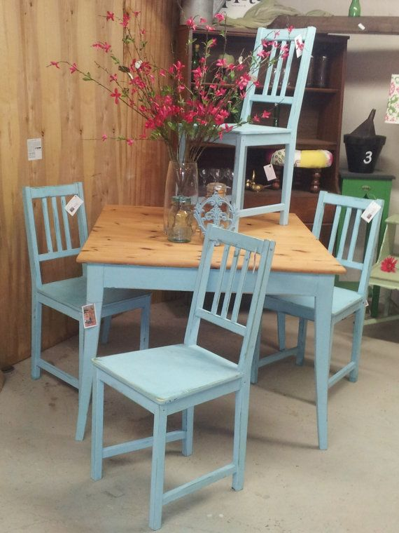 Robinu0027s Egg Blue Vintage Shabby Chic Pine Dining Table U0026 Chairs.  Hand Painted Furniture/upcycle/distressed/country/vintage/wood