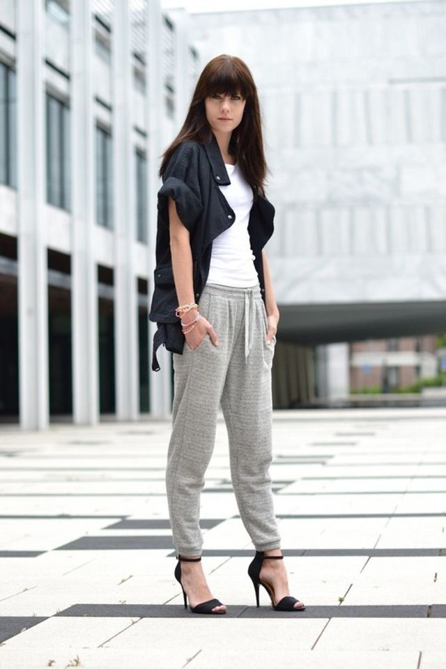 sporty chic outfit with heels                              …