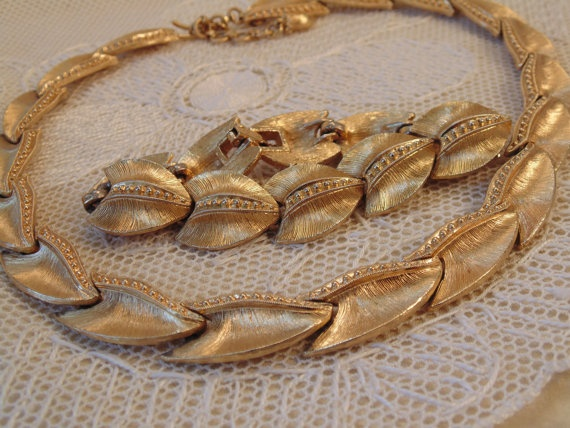 Vintage MONET Necklace and Bracelet Set Gold by Roadsidebridge, $15.50 - SOLD