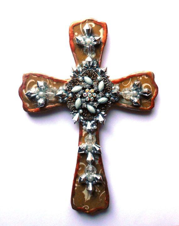 Рождество крест использованы ручная роспись ecoupage найденный объект, смешанная техника Рождества религиозного искусства подарок стене крест