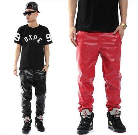 Men Hip Hop PU Leather Jogging Pants