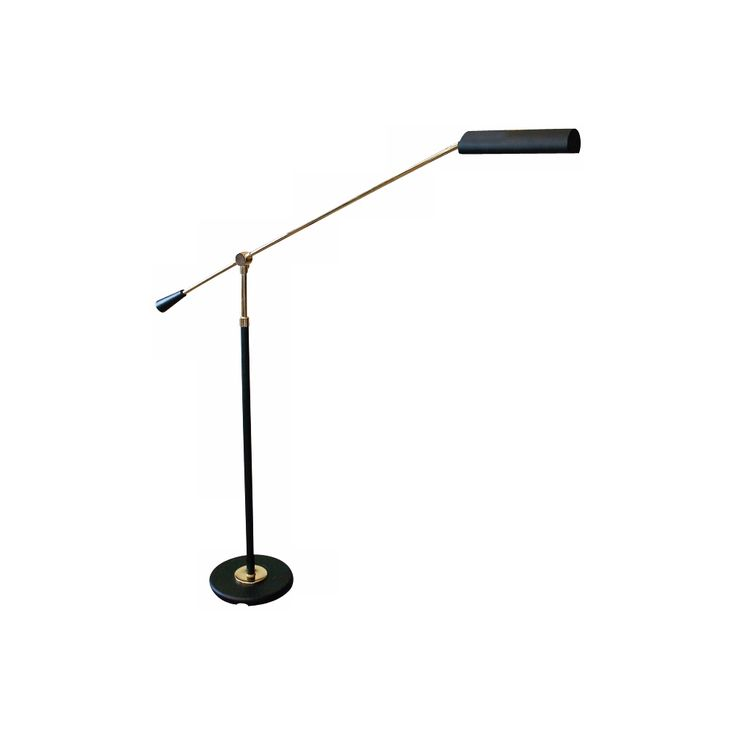 House of Troy Polished Brass and Black Floor Piano Lamp - Style # 06587