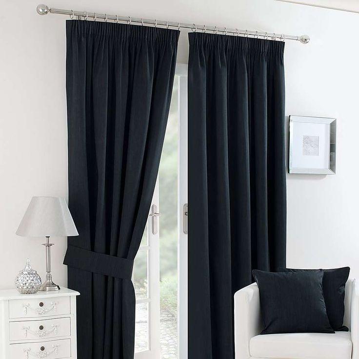 Solar Black Blackout Pencil Pleat Curtains   Dunelm