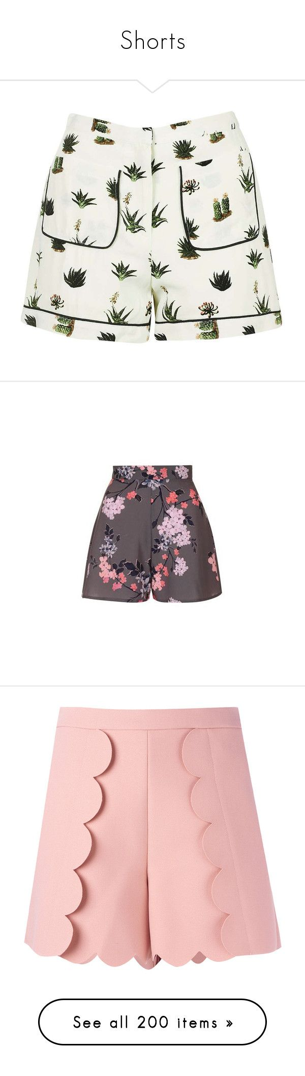 """Shorts"" by happilyjynxed on Polyvore featuring shorts, bottoms, short, topshop, pants, cream shorts, short shorts, topshop shorts, petite shorts and rayon shorts"