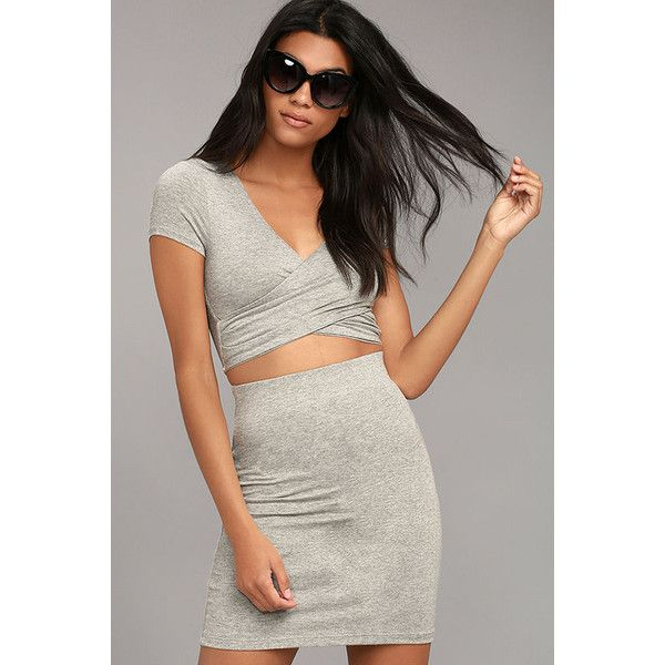 By Your Side Heather Grey Two-Piece Dress ($47) ❤ liked on Polyvore featuring dresses, grey, gray dress, wrap dresses, sexy two piece dresses, 2 piece bodycon dress and short sleeve dress