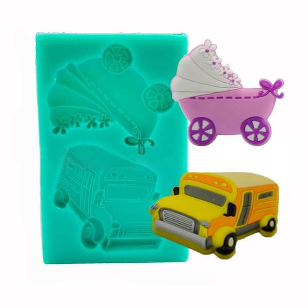 Baby Carriage Trolley Car School Bus Vehicle Silicone Wedding Cake Mold Decorating Mould  What does include #goodbuy:  Enjoyable shopping at cheapest prices Best quality goods 24/7 support & easy communication 1 day products dispatch from warehouse Fast & reliable shipment (7-25...