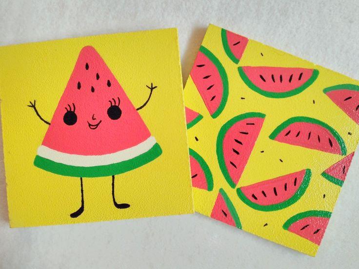 Watermelon 🍉 Karpuz desenli ahşap bardak altlıkları 🍉 ☀️