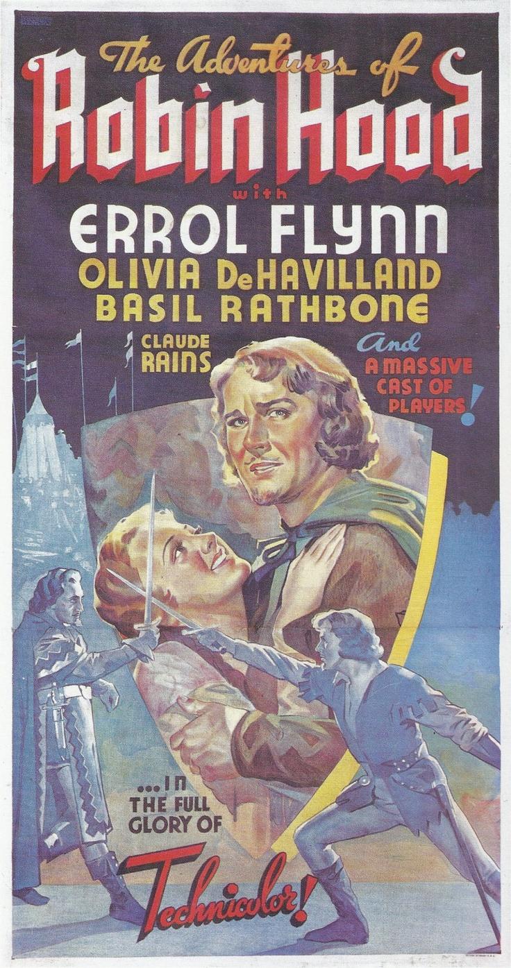 Vintage Movie Poster, Robin Hood, Errol Flynn, Olivia DeHavilland