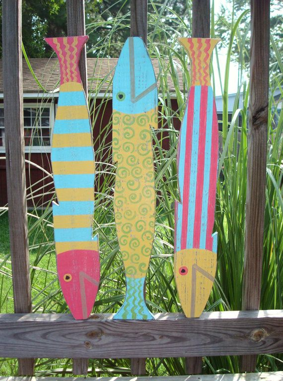 Fish Wall Decor Set of 3 Wooden Picket Fence art by justbeachyshop, $51.95