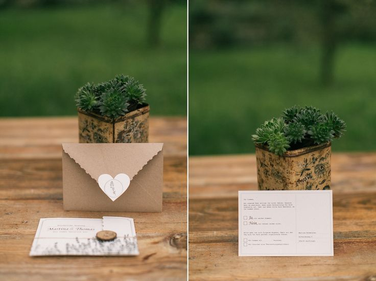"""Hochzeitspapeterie """"Lavendel-Rustikal"""", Einladungskarte + Antwortkarte"""