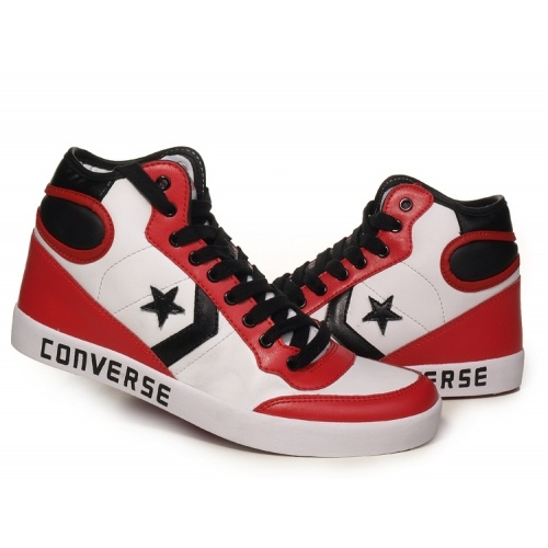Converse basketball shoe leather high