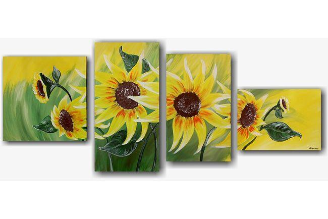 Sunflowers Zomers schilderij met prachtige gele zonnebloemen. Je wordt er op slag vrolijk van.