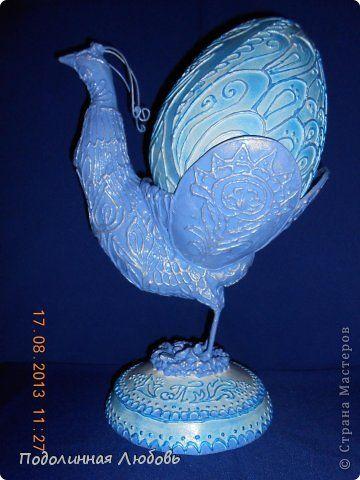 Скульптура Пасха Лепка Роспись Пасхальная жарптица с яйцом Гипс Проволока Скотч Фольга Шарики воздушные фото 1