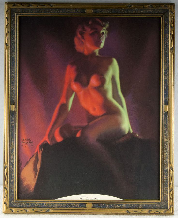 Rare Earl Moran Framed Pin-up Print Brown & Bigelow Art Deco Nude 40s Exquisite #ArtDeco