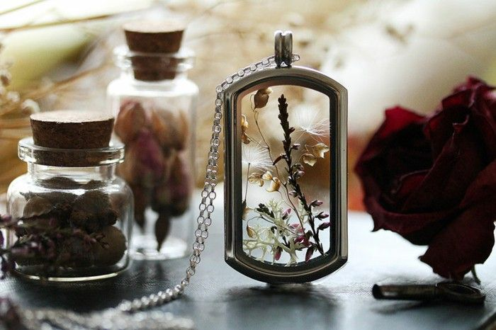 Silver jewelry necklace pendant glass pressed flower of summer dandelions Moss