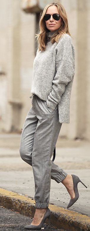 Gray Monochromatic Textures Fall Street Style women fashion outfit clothing stylish apparel @roressclothes closet ideas