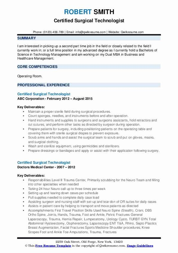 Surgical Tech Resume Examples Inspirational Certified Surgical Technologist Resume Samples In 2020 Resume Examples Job Resume Examples Resume Summary Examples