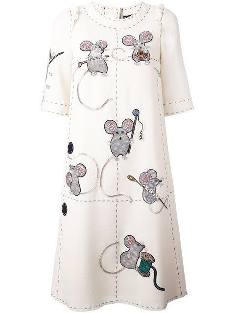 Dolce & Gabbana Vestido de lã com bordado