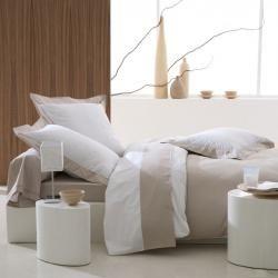 Housse de couette Castel bicolore blanc et lin en percale